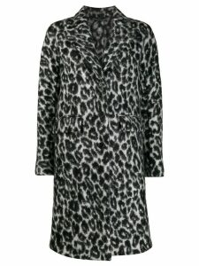 Ermanno Scervino leopard print oversized coat - Grey