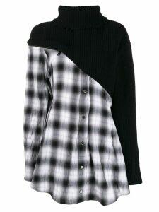 Unravel Project contrast tartan shirt dress - Black