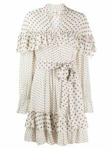 Diane von Furstenberg dot ruffled mini dress - Neutrals