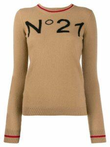 Nº21 logo intarsia jumper - Neutrals