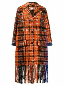 Marni plaid fringe coat - Orange