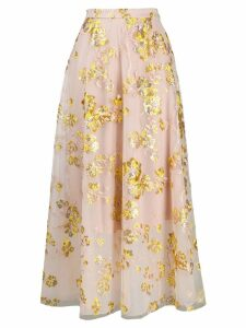 Delpozo embroidered full skirt - Pink