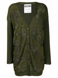 Moschino floral bead embroidered cardigan - Green