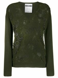 Moschino floral bead embroidered jumper - Green