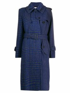 Sacai houndstooth panelled coat - Blue