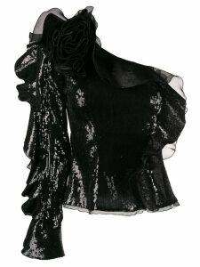 Dundas one shoulder ruffled top - Black