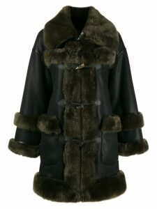 Urbancode shearling-trimmed coat - Black