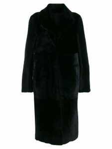 Drome fur-trimmed midi coat - Black