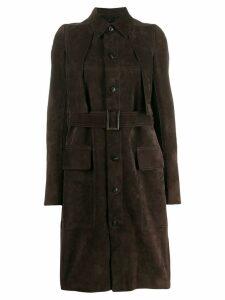 Rick Owens long belted coat - Brown