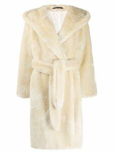 Tagliatore belted shearling coat - Neutrals