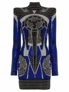 Balmain crystal-embellished long sleeve mini dress - Black