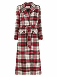 Twin-Set checked single breasted coat - Red