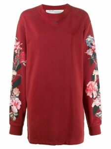 Off-White floral-print sweatshirt dress - Red
