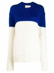 Plan C colour block sweater - White