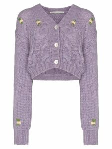 Alessandra Rich floral detail cropped knit cardigan - Purple