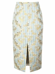 Brock Collection striped floral skirt - Blue