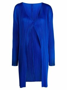 Pleats Please Issey Miyake micro-pleated coat - Blue