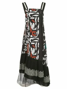 Adeam asymmetric printed midi dress - Black
