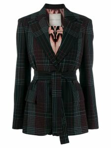 Marco De Vincenzo belted checked blazer - Black