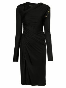 Versace slash-neck asymmetric midi dress - Black