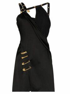 Versace asymmetric pin clip mini dress - Black