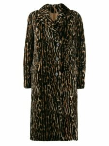 Yves Salomon ocelot print coat - Brown