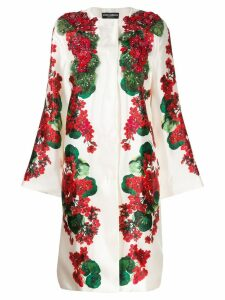 Dolce & Gabbana floral print beaded coat - White
