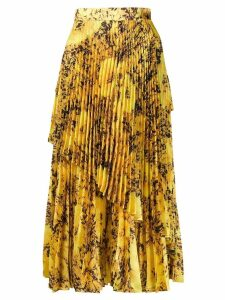 Richard Quinn asymmetric pleated skirt - Yellow