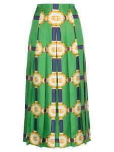 Gucci printed logo pleated skirt - Green