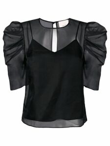 Cinq A Sept Erin gathered sleeve blouse - Black