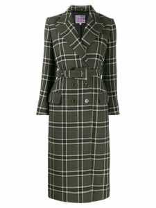 Alexa Chung tailored check midi coat - Green