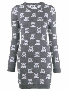 Moschino intarsia Teddy Bear mini dress - Grey