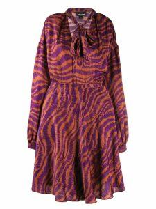 Just Cavalli animal print pussy bow dress - Purple