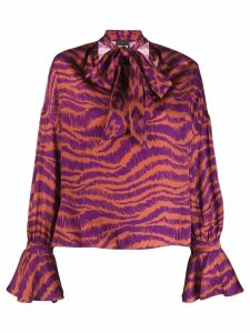 Just Cavalli animal print pussy bow blouse - Purple
