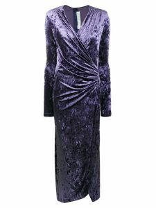 Off-White velvet wrap dress - Blue