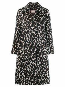 La Doublej boxy leopard print coat - White
