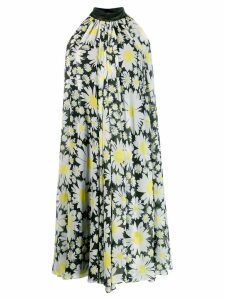 Richard Quinn daisy print flared dress - Black