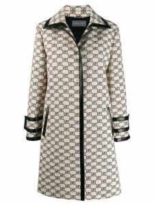 Alberta Ferretti all-over logo coat - Neutrals