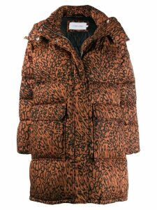 Calvin Klein leopard print parka coat - Brown