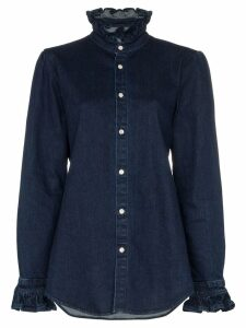 Eve Denim ruffle detail denim shirt - Blue