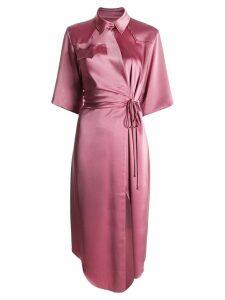 Nanushka satin wrap dress - Pink