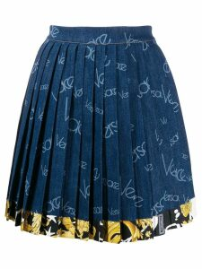 Versace pleated logo denim skirt - Blue
