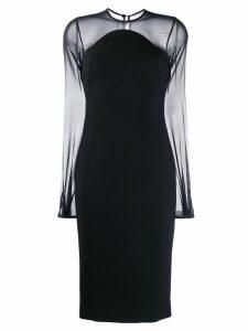 Victoria Beckham sheer sleeves fitted dress - Black