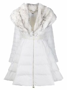 Elisabetta Franchi faux-fur collar coat - White
