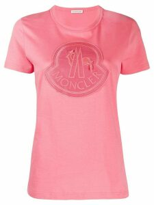 Moncler embroidered logo patch T-shirt - Pink