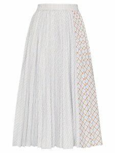 Anouki pleated dual-pattern check midi skirt - Blue