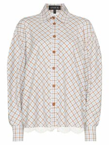 Anouki lace insert check shirt - Blue