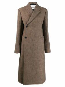 Jil Sander concealed fastening midi coat - Brown