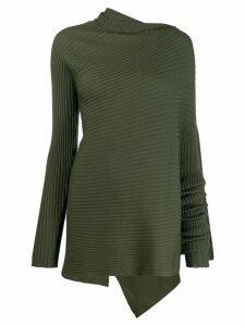Marques'Almeida ribbed-knit asymmetric jumper - Green