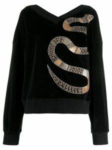 Just Cavalli embellished velvet jumper - Black